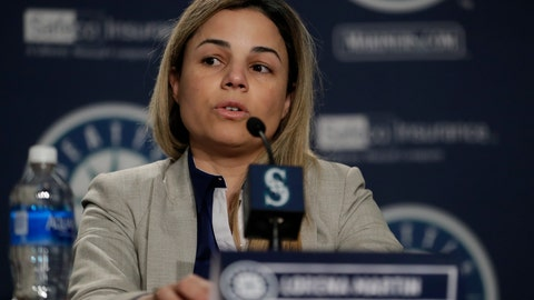<p>               In this Jan. 25, 2018, photo, Lorena Martin, then the Seattle Mariners' director of high performance, speaks during the team's annual media briefing before baseball spring training. Martin has filed a wrongful-termination lawsuit alleging discriminatory treatment. The Mariners have denied the allegations. (AP Photo/Ted S. Warren)             </p>