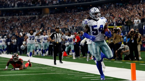 <p>               Tampa Bay Buccaneers quarterback Jameis Winston, left on field, looks on as Dallas Cowboys linebacker Jaylon Smith (54) scores a touchdown after recovering a Winston fumble in the first half of an NFL football game in Arlington, Texas, Sunday, Dec. 23, 2018. (AP Photo/Ron Jenkins)             </p>