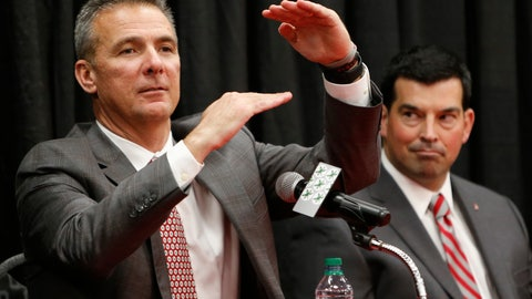 <p>               Ohio State NCAA college football head coach coach Urban Meyer, left, answers questions during a news conference announcing his retirement Tuesday, Dec. 4, 2018, in Columbus, Ohio. At right is assistant coach Ryan Day. (AP Photo/Jay LaPrete)             </p>