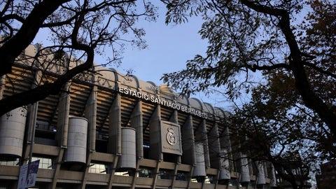 <p>               Real Madrid's Santiago Bernanabeu stadium at sunset Friday, Dec. 7, 2018, in Madrid. The Copa Libertadores Final between River Plate and Boca Juniors will be played on Dec. 9, in Madrid, Spain, at Real Madrid's stadium. (AP Photo/Armando Franca)             </p>