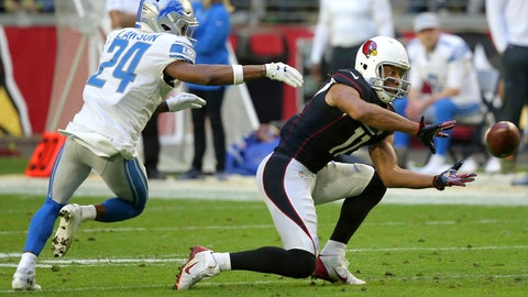 <p>               Arizona Cardinals wide receiver Larry Fitzgerald (11) makes his 1,282nd career catch to surpass NFL Hall of Famer Jerry Rice for the most receptions with one team in NFL history during the second half of an NFL football game as Detroit Lions cornerback Nevin Lawson (24) defends, Sunday, Dec. 9, 2018, in Glendale, Ariz. (AP Photo/Ross D. Franklin)             </p>