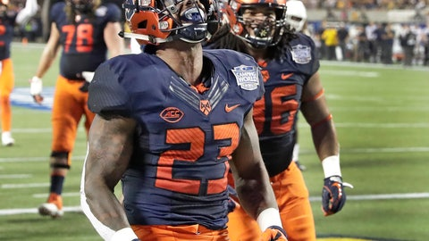 <p>               Syracuse running back Abdul Adams (23) celebrates after scoring a touchdown on a 1-yard run against West Virginia during the first half of the Camping World Bowl NCAA college football game Friday, Dec. 28, 2018, in Orlando, Fla. (AP Photo/John Raoux)             </p>
