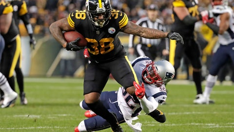 <p>               Pittsburgh Steelers running back Jaylen Samuels (38) is tackled by New England Patriots free safety Devin McCourty (32) during the first half of an NFL football game in Pittsburgh, Sunday, Dec. 16, 2018. (AP Photo/Don Wright)             </p>