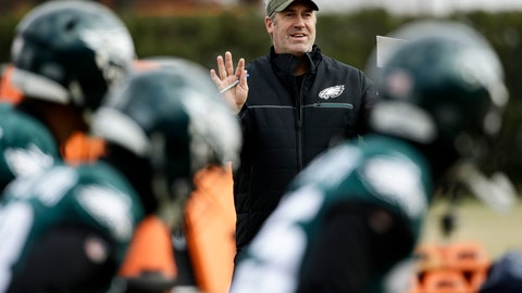 <p>               Philadelphia Eagles head coach Doug Pederson speaks with players during practice at the team's NFL football training facility in Philadelphia, Thursday, Dec. 6, 2018. (AP Photo/Matt Rourke)             </p>