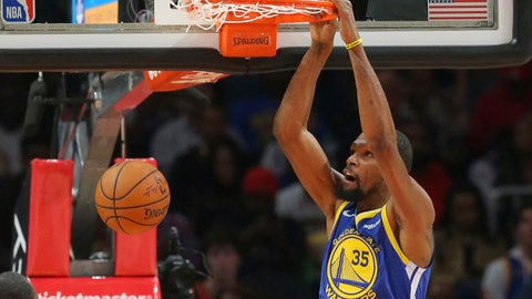 <p>               Golden State Warriors forward Kevin Durant (35) scores during the first half of an NBA basketball game against the Atlanta Hawks Monday, Dec. 3, 2018, in Atlanta. (AP Photo/John Bazemore)             </p>