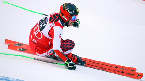 <p>               130Austria's Marcel Hirscher speeds down the course during a men's World Cup Giant Slalom, in Alta Badia, Italy, Sunday, Dec. 16, 2018. (AP Photo/Alessandro Trovati)             </p>