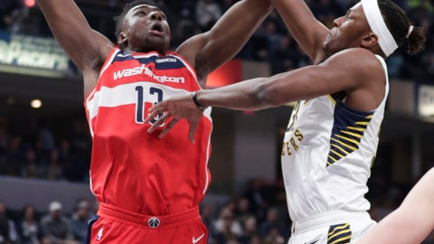 <p>               Washington Wizards center Thomas Bryant (13) shoots over Indiana Pacers center Myles Turner (33) during the first half of an NBA basketball game in Indianapolis, Monday, Dec. 10, 2018. (AP Photo/Michael Conroy)             </p>