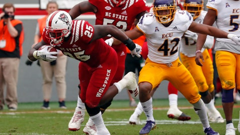 <p>               North Carolina State's Reggie Gallaspy II (25) breaks away from East Carolina's Devon Sutton (42) as he runs for a touchdown during the first half of NCAA college football game in Raleigh, N.C., Saturday, Dec. 1, 2018. (AP Photo/Chris Seward)             </p>