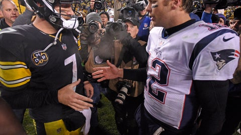 <p>               FILE - In this Dec. 17, 2017, file photo, Pittsburgh Steelers quarterback Ben Roethlisberger (7) and New England Patriots quarterback Tom Brady (12) meet on the field following an NFL football game in Pittsburgh. New England plays at Pittsburgh on Sunday, Dec. 16, 2018 (AP Photo/Don Wright, File)             </p>