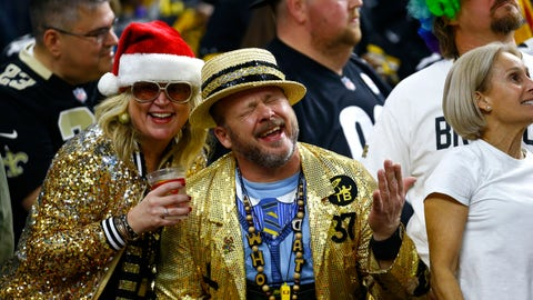 <p>               New Orleans Saints fans celebrates in the second half of an NFL football game against the Pittsburgh Steelers in New Orleans, Sunday, Dec. 23, 2018. The Saints won 31-28, clinching the top seed for the NFC and home field advantage for the playoffs. (AP Photo/Butch Dill)             </p>