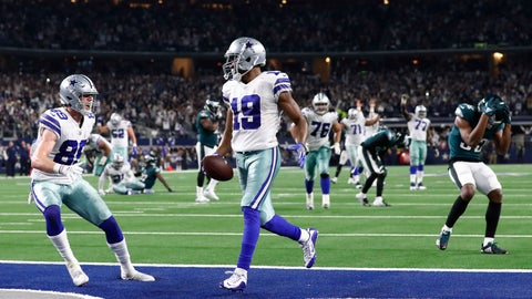 <p>               Dallas Cowboys wide receiver Amari Cooper (19) scores a 15-yard touchdown against the Philadelphia Eagles in overtime of an NFL football game, in Arlington, Texas, Sunday, Dec. 9, 2018. Dallas won 29-23. (AP Photo/Roger Steinman)             </p>