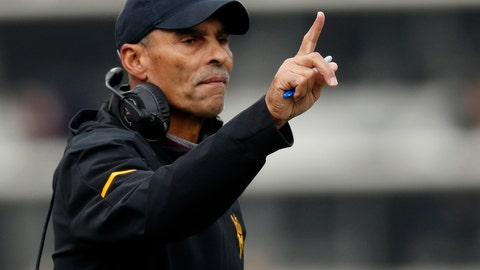 <p>               FILE - In this Saturday, Oct. 6, 2018, file photo, Arizona State head coach Herm Edwards gestures during the first half of an NCAA college football game in Boulder, Colo. Arizona State plays Fresno State in the Las Vegas Bowl, Saturday, Dec. 15, 2018. (AP Photo/David Zalubowski, File)             </p>