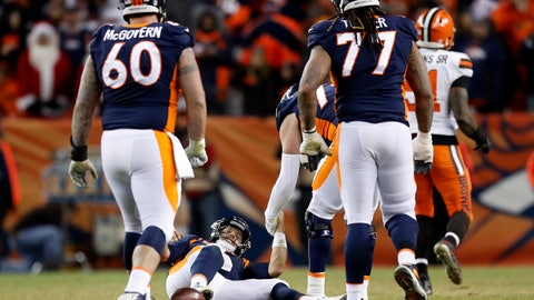 <p>               Denver Broncos quarterback Case Keenum is helped up by teammates after being sacked on fourth down during the second half of an NFL football game against the Cleveland Browns, Saturday, Dec. 15, 2018, in Denver. The Browns won 17-16. (AP Photo/Jack Dempsey)             </p>