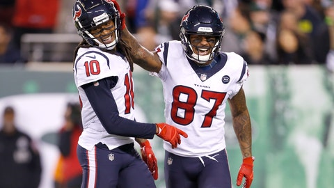 <p>               FILE - In this Saturday, Dec. 15, 2018 file photo, Houston Texans wide receiver DeAndre Hopkins (10) celebrates his touchdown catch with wide receiver Demaryius Thomas (87) during the first half of an NFL football game, in East Rutherford, N.J. The Chicago Bears (10-4) already won the NFC North to complete a worst-to-first turnaround and the Houston Texans (10-4) are on the verge of securing the AFC South to become the second team to do it this season. (AP Photo/Adam Hunger, File)             </p>