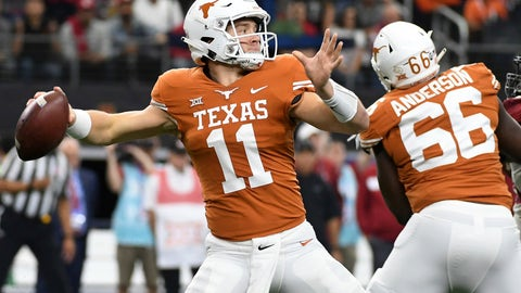 <p>               Texas quarterback Sam Ehlinger (11) throws a pass against Oklahoma during the first half of the Big 12 Conference championship NCAA college football game on Saturday, Dec. 1, 2018, in Arlington, Texas. (AP Photo/Jeffrey McWhorter)             </p>