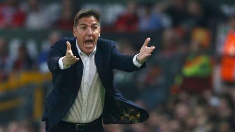 <p>               FILE - In this file photo dated Thursday, May 11, 2017, Celta's head coach Eduardo Berizzo during the Europa League semifinal second leg soccer match against Manchester United in Manchester, England.  Spanish Basque Country soccer club Athletic Bilbao announced Tuesday Dec. 4, 2018, has fired coach Eduardo Berizzo after the team won only two of its 15 matches this season. (AP Photo/Dave Thompson, FILE)             </p>