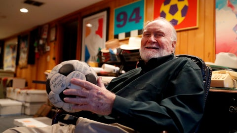 <p>               Dick Cecil, vice president and chief architect of the Atlanta Chiefs soccer club, holds a ball signed by the 1968 championship team at his home in Atlanta, Wednesday, Dec. 5, 2018. Cecil still has the championship trophy, tucked away somewhere in his home, a cherished prize that has been reduced to bits and pieces by the ravages of time. (AP Photo/John Bazemore)             </p>