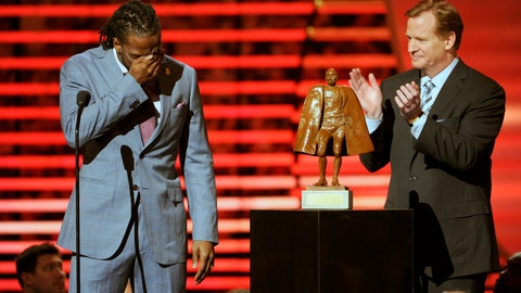 <p>               FILE - In this Feb. 1, 2014, file photo, Charles Tillman of the Chicago Bears, left, accepts the award for Walter Payton NFL Man of the Year from NFL Commissioner Roger Goodell at the third annual NFL Honors, at Radio City Music Hall in New York. Winning any of the AP's individual NFL awards, from MVP to top rookie, means plenty to players. Being nominated for, no less winning, the Walter Payton Man of the Year award, means more. (Photo by Evan Agostini/Invision for NFL/AP Images, File)             </p>