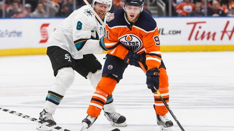 <p>               San Jose Sharks' Joe Pavelski (8) chases Edmonton Oilers' Drake Caggiula (91) during the second period of an NHL hockey game, Saturday, Dec. 29, 2018 in Edmonton, Alberta. (Jason Franson/The Canadian Press via AP)             </p>