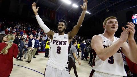<p>               Penn's Antonio Woods (2) and Jake Silpe (3) celebrate after beating Villanova, 78-75, in an NCAA college basketball game, Tuesday, Dec. 11, 2018, in Philadelphia. (AP Photo/Matt Slocum)             </p>