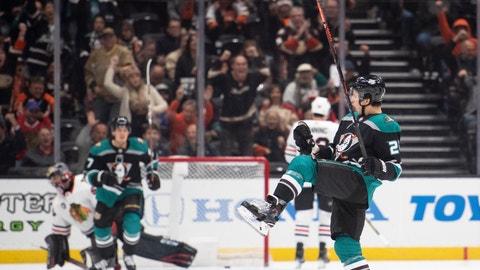 <p>               Anaheim Ducks defenseman Brandon Montour celebrates his goal in the first period of an NHL hockey game against the Chicago Blackhawks in Anaheim, Calif., Wednesday, Dec. 5, 2018. (AP Photo/Kyusung Gong)             </p>