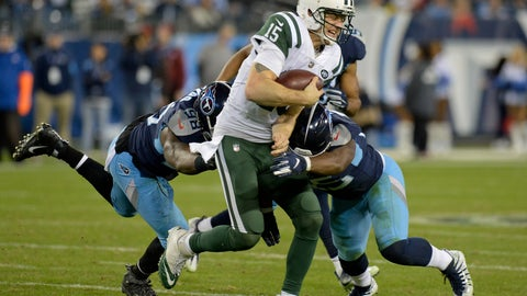 <p>               New York Jets quarterback Josh McCown (15) is hit by Tennessee Titans defenders Brian Orakpo (98) and Jayon Brown (55) in the second half of an NFL football game Sunday, Dec. 2, 2018, in Nashville, Tenn. (AP Photo/Mark Zaleski)             </p>