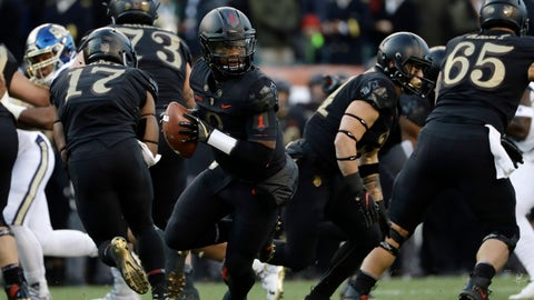 <p>               Army's Kelvin Hopkins Jr. drops back during the first half of an NCAA college football game against Navy, Saturday, Dec. 8, 2018, in Philadelphia. (AP Photo/Matt Slocum)             </p>