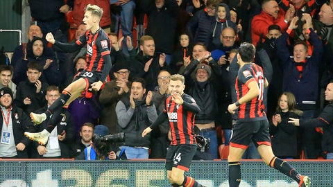 <p>               Bournemouth's David Brooks, left celebrates scoring his side's second goal of the game during the English Premier League soccer match between AFC Bournemouth and Brighton and Hove Albion at the Vitality Stadium, Bournemouth, England. Saturday, Dec. 22, 2018. (Mark Kerton/PA via AP)             </p>