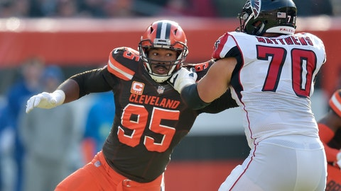 <p>               FILE - In this Nov. 11, 2018, file photo, Cleveland Browns defensive end Myles Garrett (95) rushes against Atlanta Falcons offensive tackle Jake Matthews (70) in the second half of an NFL football game in Cleveland.  The former No. 1 overall pick earned his first Pro Bowl selection on Tuesday, Dec. 18, 2018, a personal accomplishment the dominating defensive end said is merely the initial stage of his journey to greatness. (AP Photo/David Richard, File)             </p>