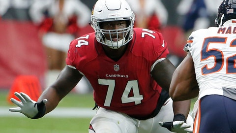 <p>               FILE - In this Sept. 23, 2018, file photo, Arizona Cardinals offensive tackle D.J. Humphries (74) blocks during the first half during an NFL football game against the Chicago Bears in Glendale, Ariz. Humphries was placed on injured reserves, Wednesday, Dec. 5, 2018. (AP Photo/Rick Scuteri, File)             </p>