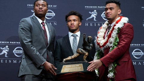 <p>               Heisman Trophy finalists, from left, Dwayne Haskins, from Ohio State; Kyler Murray, from Oklahoma; and Tua Tagovailoa, from Alabama, pose with the trophy during a media event Saturday, Dec. 8, 2018, in New York. (AP Photo/Craig Ruttle)             </p>