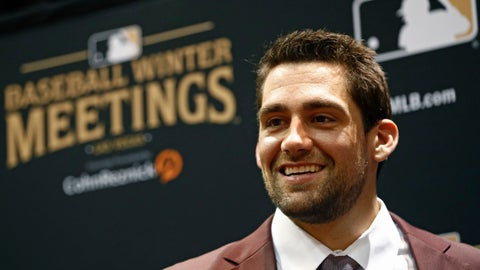 <p>               Boston Red Sox pitcher Nathan Eovaldi attends the Major League Baseball winter meetings, Monday, Dec. 10, 2018, in Las Vegas. (AP Photo/John Locher)             </p>