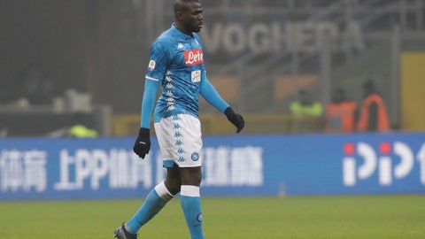 <p>               Napoli's Kalidou Koulibaly leaves the pitch after receiving a red card from the referee during a Serie A soccer match between Inter Milan and Napoli, at the San Siro stadium in Milan, Italy, Wednesday, Dec.26, 2018. (AP Photo/Luca Bruno)             </p>