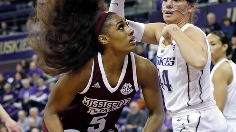 <p>               Mississippi State's Anriel Howard (5) looks to shoot as Washington's Missy Peterson defends during the first half of an NCAA college basketball game Thursday, Dec. 20, 2018, in Seattle. (AP Photo/Elaine Thompson)             </p>