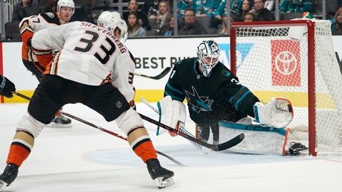 <p>               San Jose Sharks goaltender Martin Jones (31) makes a glove save on a shot by Anaheim Ducks right wing Jakob Silfverberg (33) during the second period of an NHL hockey game in San Jose, Calif., Thursday, Dec. 27, 2018. (AP Photo/Tony Avelar)             </p>