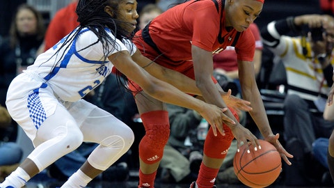 <p>               Louisville guard Dana Evans, right, and Kentucky guard Taylor Murray, left, go after the ball during the first half of an NCAA college basketball game in Louisville, Ky., Sunday, Dec. 9, 2018. (AP Photo/Timothy D. Easley)             </p>