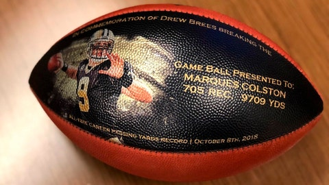 <p>               This undated photo provided by the New Orleans Saints shows a custom made football. When Drew Brees became the NFL's all-time leader in yards passing, he wanted to come up with some sort of gift to thank those who coached him, caught the 6,357 completions it took to set the record, and those who blocked while he threw. His solution was an exhaustive process than involved the production of about 175 unique commemorative footballs and the enlisting Saints front office and public relations staff to help track down 99 receivers, 56 offensive linemen, 11 head or assistant coaches from his 18 pro seasons, as well as a few others Brees saw as instrumental in his success. (New Orleans Saints via AP)             </p>