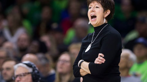 <p>               Notre Dame head coach Muffet McGraw yells to her players during the first half of an NCAA college basketball game against Binghamton, Sunday, Dec. 16, 2018, in South Bend, Ind. (AP Photo/Robert Franklin)             </p>