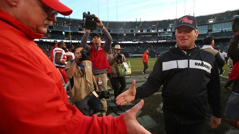 <p>               Kansas City Chiefs head coach Andy Reid, left, shakes hands with Oakland Raiders head coach Jon Gruden after an NFL football game in Oakland, Calif., Sunday, Dec. 2, 2018. (AP Photo/Ben Margot)             </p>
