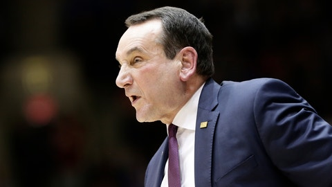 <p>               File-This Dec. 8, 2018, file photo shows Duke head coach Mike Krzyzewski directing his players during the first half of an NCAA college basketball game against Yale in Durham, N.C. Krzyzewski's top-ranked Blue Devils are No. 1 in the AP Top 25 for the second time this season as league play begins next week.  (AP Photo/Gerry Broome, File)             </p>