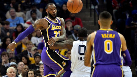 <p>               Los Angeles Lakers forward LeBron James (23) passes the ball against Memphis Grizzlies forward JaMychal Green (0) in the first half of an NBA basketball game on Saturday, Dec. 8, 2018, in Memphis, Tenn. (AP Photo/Brandon Dill)             </p>