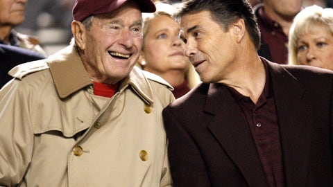 <p>               FILE - In this Nov. 26, 2009, file photo, former President George H.W. Bush, left, talks with Texas Gov. Rick Perry before an NCAA college football game between Texas and Texas A&M, in College Station, Texas. All of Texas A&M's teams will begin wearing helmet decals or uniform patches to honor former President George H.W. Bush. Bush, who died on Friday at 94, was a frequent visitor to Aggie sporting events. His presidential library is located at Texas A&M and he'll be buried there on Thursday, Dec. 6, 2018. (AP Photo/David J. Phillip, File)             </p>