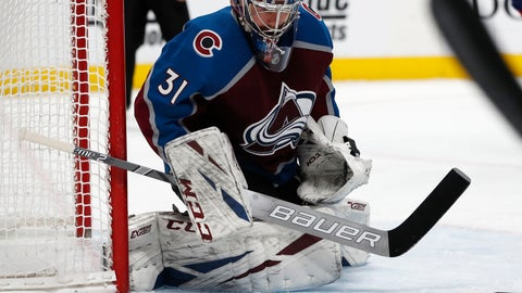 <p>               Colorado Avalanche goaltender Philipp Grubauer stops a shot against the Montreal Canadiens in the second period of an NHL hockey game Wednesday, Dec. 19, 2018, in Denver. (AP Photo/David Zalubowski)             </p>