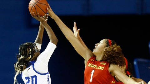 <p>               Maryland forward Shakira Austin, right, blocks a shot attempt by Delaware guard Jasmine Dickey in the first half of an NCAA college basketball game, Thursday, Dec. 20, 2018, in Newark, Del. (AP Photo/Patrick Semansky)             </p>