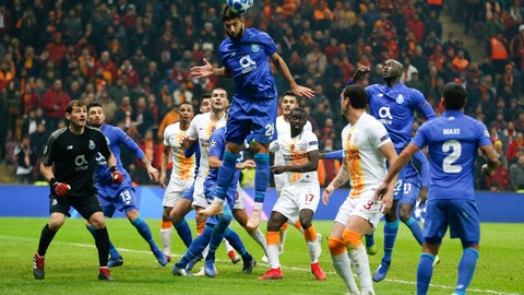 <p>               Porto defender Felipe heads the ball during the Champions League Group D soccer match between Galatasaray and Porto in Istanbul, Tuesday, Dec. 11, 2018. (AP Photo/Lefteris Pitarakis)             </p>