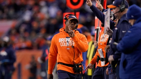 <p>               Denver Broncos head coach Vance Joseph, center, reacts on the sideline during the second half of an NFL football game against the Los Angeles Chargers, Sunday, Dec. 30, 2018, in Denver. (AP Photo/Jack Dempsey)             </p>