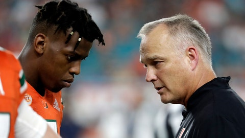 <p>               File-This Nov. 24, 2018, file photo shows Miami quarterback N'Kosi Perry, left, talking with Miami head coach Mark Richt during the second half of an NCAA college football game against Pittsburgh, in Miami Gardens, Fla.   The Hurricanes could play the Pinstripe Bowl without Perry in the wake of a sexually explicit video he posted on Snapchat. The video appeared to have been filmed in September but recently resurfaced and could cost Perry (1,089 yards passing, 13 touchdowns) a Pinstripe start. Malik Rosier, who started six games this season before he was replaced by Perry, will likely get the start. Jarren Williams could also get some snaps for the Hurricanes. Richt had not announced a starter on Wednesday. (AP Photo/Lynne Sladky, File)             </p>