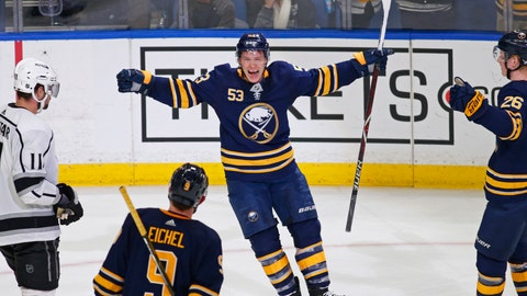 <p>               Buffalo Sabres forward Jeff Skinner (53) celebrates his game-winning goal during the overtime period of an NHL hockey game against the Los Angeles Kings, Tuesday, Dec. 11, 2018, in Buffalo N.Y. (AP Photo/Jeffrey T. Barnes)             </p>