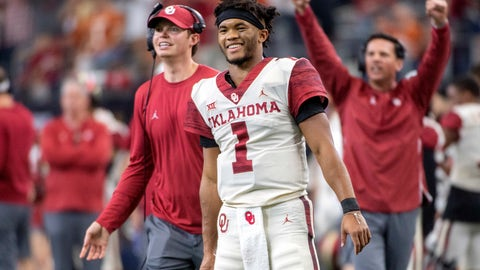 <p>               FILE - In this Dec. 1, 2018, file photo, Oklahoma quarterback Kyler Murray (1) celebrates on the sidelines after throwing a touchdown against Oklahoma during the second half of the Big 12 Conference championship NCAA college football game, in Arlington, Texas. Murray was named The Associated Press college football Player of the Year, Thursday, Dec. 6, 2018. (AP Photo/Jeffrey McWhorter, File)             </p>