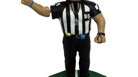 <p>               This undated photo provided by the National Bobblehead Hall of Fame and Museum, shows a bobblehead featuring former legendary NFL referee, Ed Hochuli, who retired following the 2017 NFL season. Hochuli officiated for 28 seasons in the NFL from 1990 to 2017, spending 26 of those years as a referee. (National Bobblehead Hall of Fame and Museum via AP)             </p>